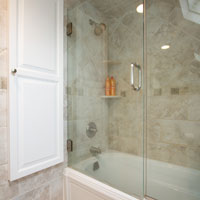 Angled ceiling bathub shower combination